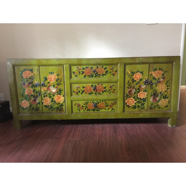 Antique Floral Painted Sideboard Cabinet - Image 2 of 7