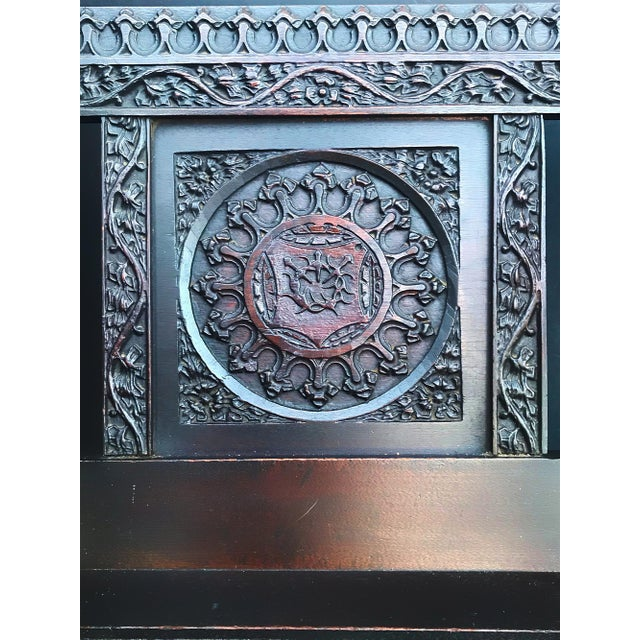 Late 19th Century Antique Tudor Revival English Manor House Carved Hall Chair For Sale - Image 5 of 13