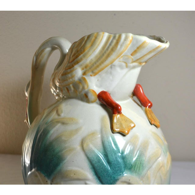 Ceramic Vintage Large Majolica Swan Shaped Pitcher For Sale - Image 7 of 11
