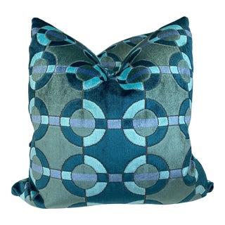 """Aqua/Teal Circle Cut Velvet 22"""" Pillows-A Pair For Sale"""