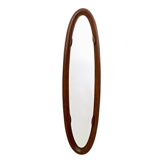 Oval Wall Mirror with a Wooden Frame, Italy, 1960s-1970s For Sale