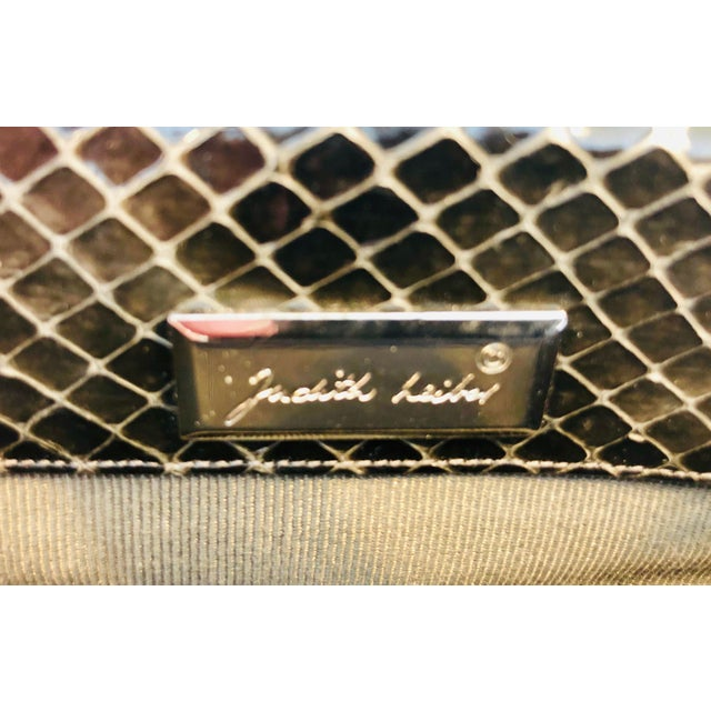 Judith Leiber Vintage Judith Leiber Grey Python Clutch With Frog Charm Detail For Sale - Image 4 of 11