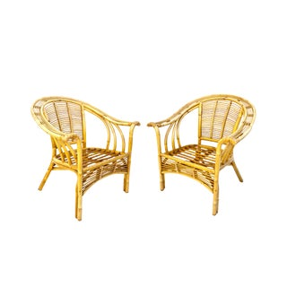 Mid-Century Rattan Lounge Chairs   Bohemian Arm Chairs For Sale