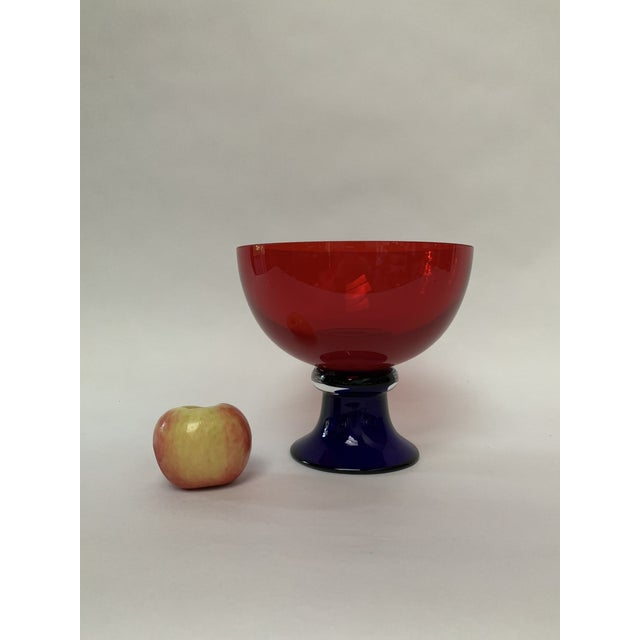 Red Memphis Style Footed Glass Bowl For Sale - Image 8 of 10