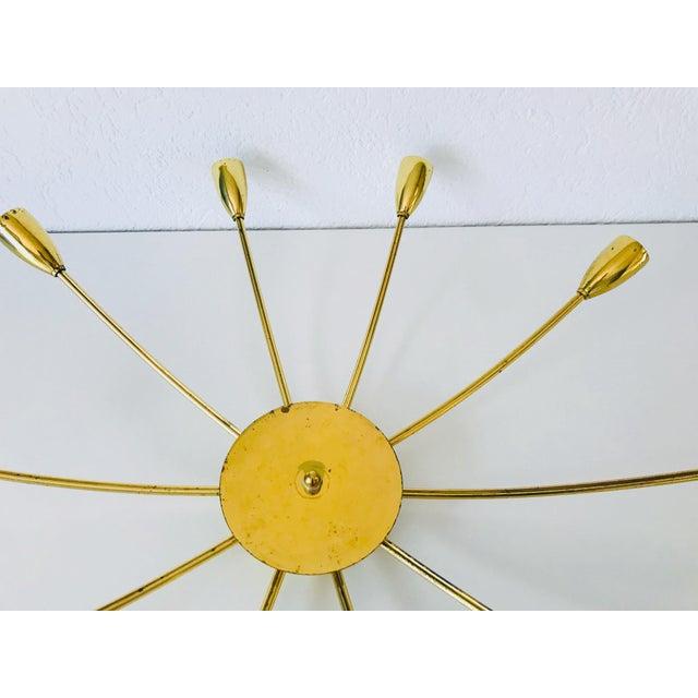 1960s Mid-Century Modern Brass Sputnik 8-Arm Chandelier, Germany For Sale - Image 9 of 11