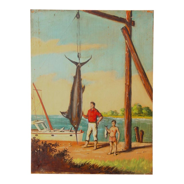 """""""Great Catch"""" Oil Painting on Board by Melvin O. Miller 1937 For Sale"""