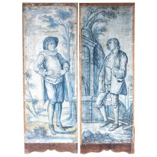 Early 19th Century French Painted Screen Panels- a Pair For Sale