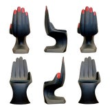 Image of 1990s Vintage European Touch Black Hand Chairs - Set of 6 For Sale