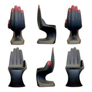 1990s Vintage European Touch Black Hand Chairs - Set of 6 For Sale