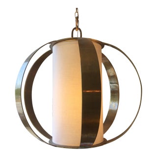 MId-Century Contemporary Round Brass Fixture For Sale