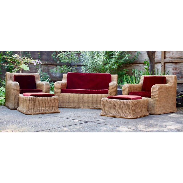 1970s Vintage Scultpural Wicker Seating Set- 5 Pieces For Sale - Image 13 of 13