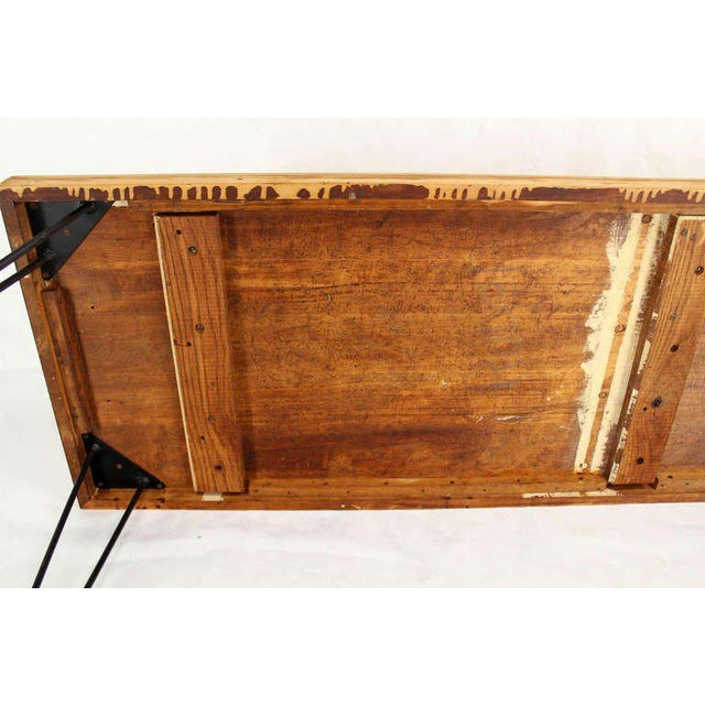 Early 20th Century Large Rectangular Vintage Solid Birch-Top with Hairpin Leg Coffee Table For Sale - Image 5 of 7