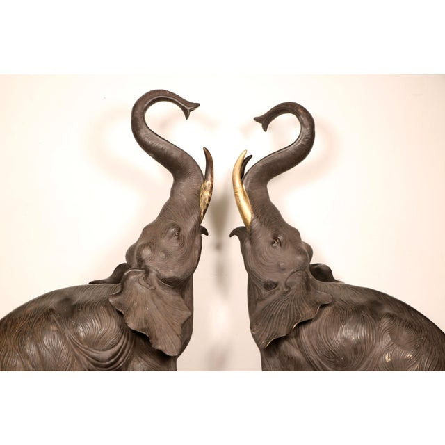Gold 80s Bronze Elephant Statues - A Pair For Sale - Image 8 of 11