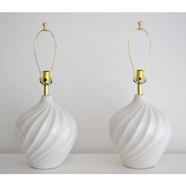 Mid-Century Modern Pair of Blanc De Chine Jar Form Table Lamps For Sale - Image 3 of 10
