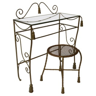 1960s Italian Iron Tassel Vanity Table and Bench For Sale