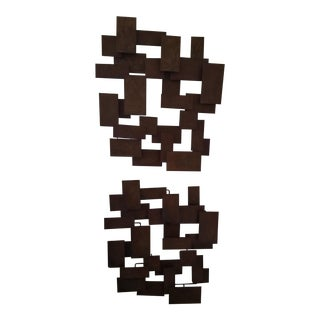 Jere Curtis Style Brutalist Wall Sculptures - A Pair