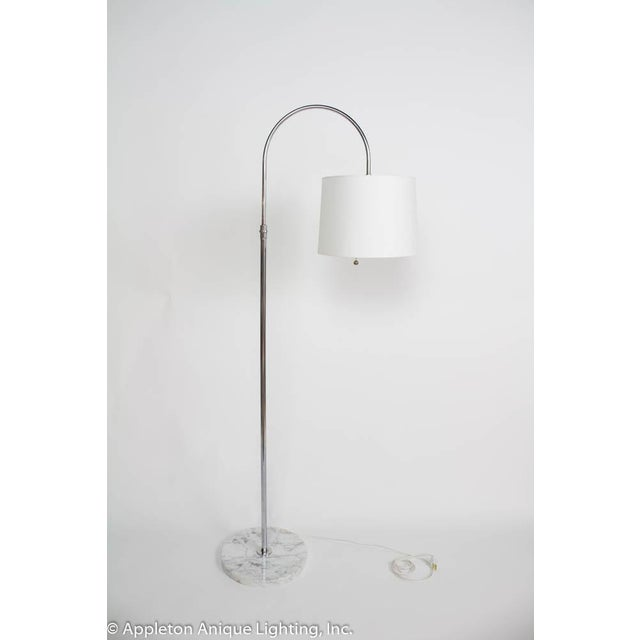 Restored Mid Century Italian Chrome Arc Floor Lamp With Marble Base For Sale In Boston - Image 6 of 6