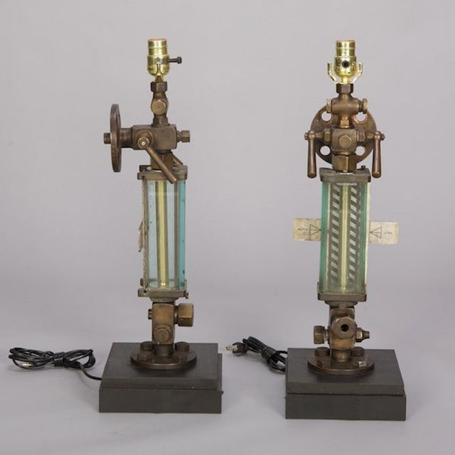 Brass, Glass & Iron Industrial Table Lamps - Pair - Image 3 of 5