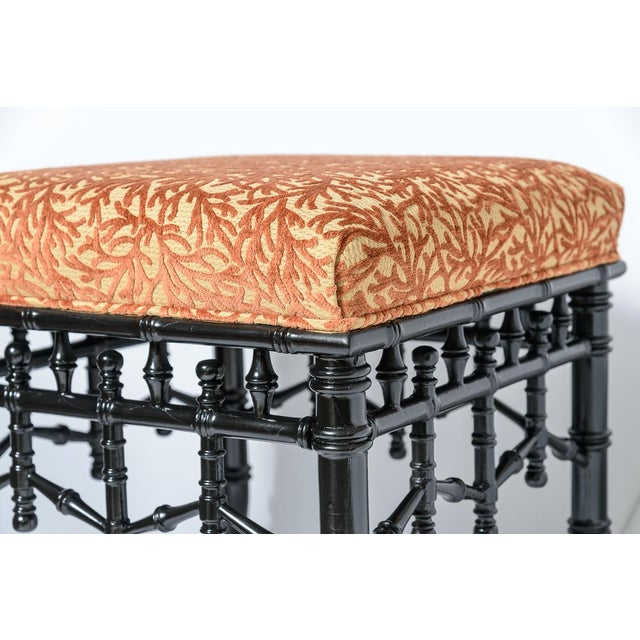 Black Chinoiserie Black Faux Bamboo Wood Ottomans With Coral Velvet Motif, A-Pair For Sale - Image 8 of 9