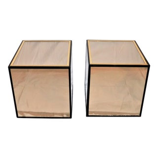 Vintage Henredon Black Lacquer and Brass Mirrored Cube Tables - a Pair For Sale