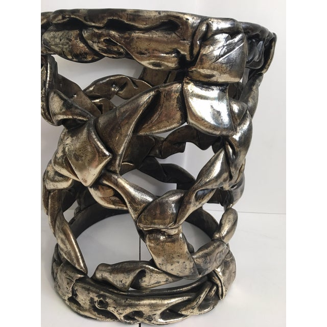 Hollywood Regency Silver Leaf Ribbon Drinks Tables, Style of Tony Duquette For Sale - Image 9 of 13