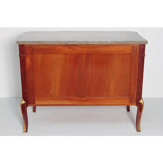 French Ormolu Mounted Fruitwood Chest With Shaped Marble Top - Image 8 of 10