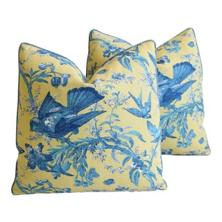 "Designer Blue & Yellow Bird and Butterflies Feather/Down Pillows 21"" Square - Pair For Sale"
