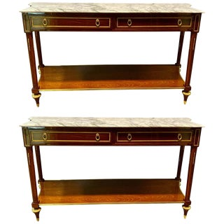 Pair of Louis XVI Style Bronze Mounted Marble-Top Console Tables, Inverted Sides For Sale