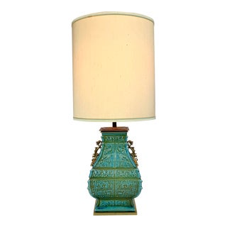 Stiffel Monumental Turquoise Ceramic & Brass Table Lamp For Sale