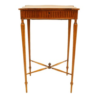 English Sheraton Satinwood and Mahogany Sewing Table For Sale