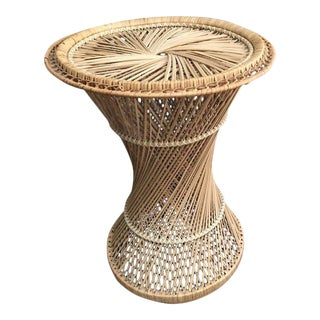 1970's Boho Chic Spun Rattan Wicker Peacock Hourglass Table For Sale