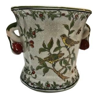 Vintage Chinese Porcelain Floral Cachepot Jardiniere For Sale
