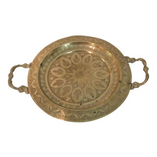 Vintage Footed Brass Tray With Handles For Sale