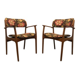 Erik Buch for Mobler Model 49 Teak Danish Mid Century Modern Arm Chairs - Pair 1