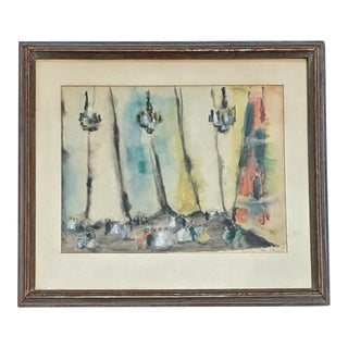 Mid-Century Modern Framed Under Glass Watercolor Painting by Simone Van Moppes For Sale
