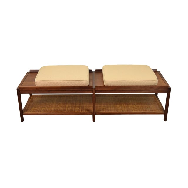 1960s Mid-Century Modern Coffee Table Bench Caned Shelf For Sale