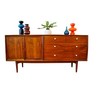 Mid Century Modern Walnut Low Dresser by Kipp Stewart for Drexel Declaration For Sale