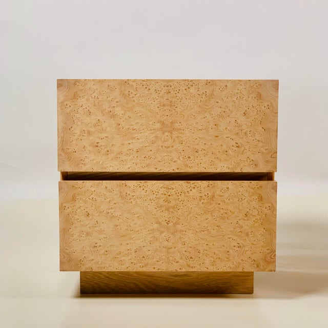Beige Minimalist 'Amboine' Burl Wood Nightstands by Design Frères - a Pair For Sale - Image 8 of 12