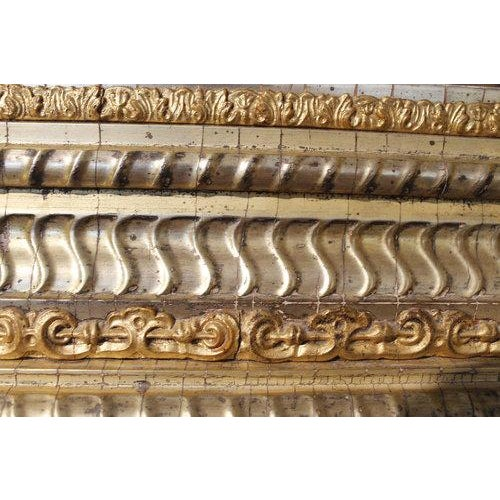 19th Century German Ripple Carved Gilded Mirror For Sale - Image 4 of 7