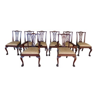Potthast Bros Chippendale Style Mahogany Ball & Claw Foot Set of 8 Dining Chairs For Sale