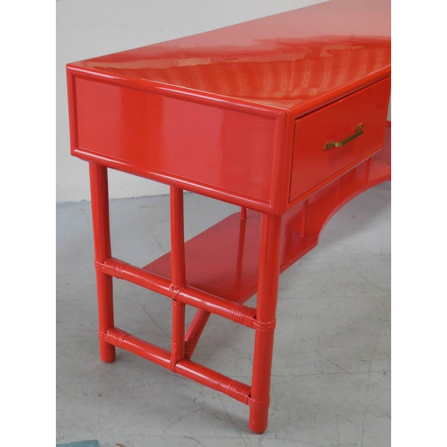 Wood Slender Tommi Parzinger Attributed Desk for Willow and Reed For Sale - Image 7 of 10