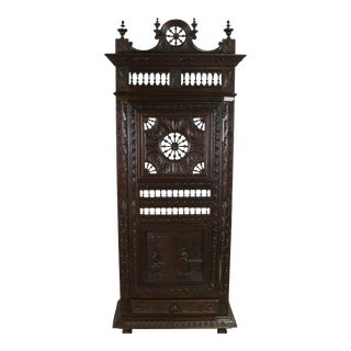 Antique French Breton Single Door Robe Armoire For Sale
