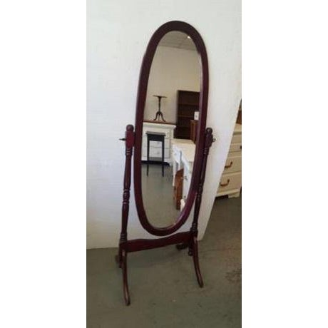 Mid-Century Modern Queen Anne Style Floor Mirror For Sale - Image 3 of 3