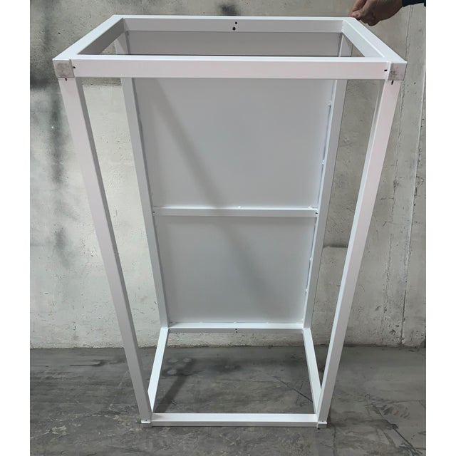 Blue New Modern Rectangular White Table With Metal Top, Indoor or Outdoor For Sale - Image 8 of 12