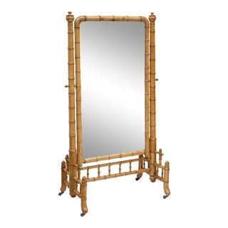 Large French Faux Bamboo Cheval Mirror For Sale