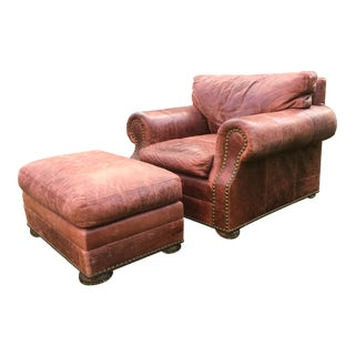 Brick Red Leather Chair & Ottoman - A Pair