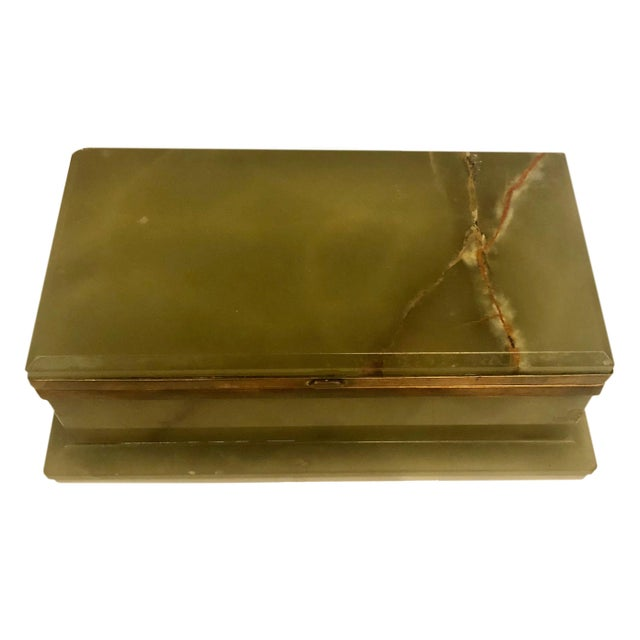 1940s Large Onyx and Bronze Table Box For Sale - Image 4 of 12