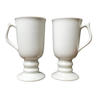 Vintage Hall Irish Coffee Ivory Pedestal Porcelain Mugs - a Pair For Sale