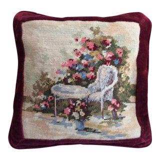 1980s Shabby Chic Handmade Needlepoint and Velvet Pillow For Sale