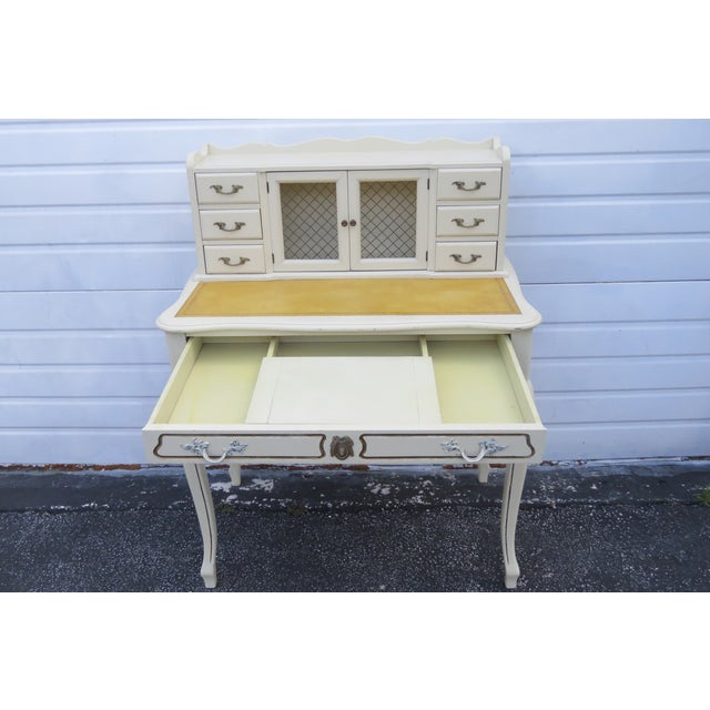 French Painted Leather Top Vanity Writing Desk With Flip Up Mirror 1272 For Sale - Image 11 of 13